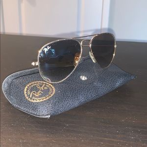 Ray Ban Light Brown Aviators with Gold Detail